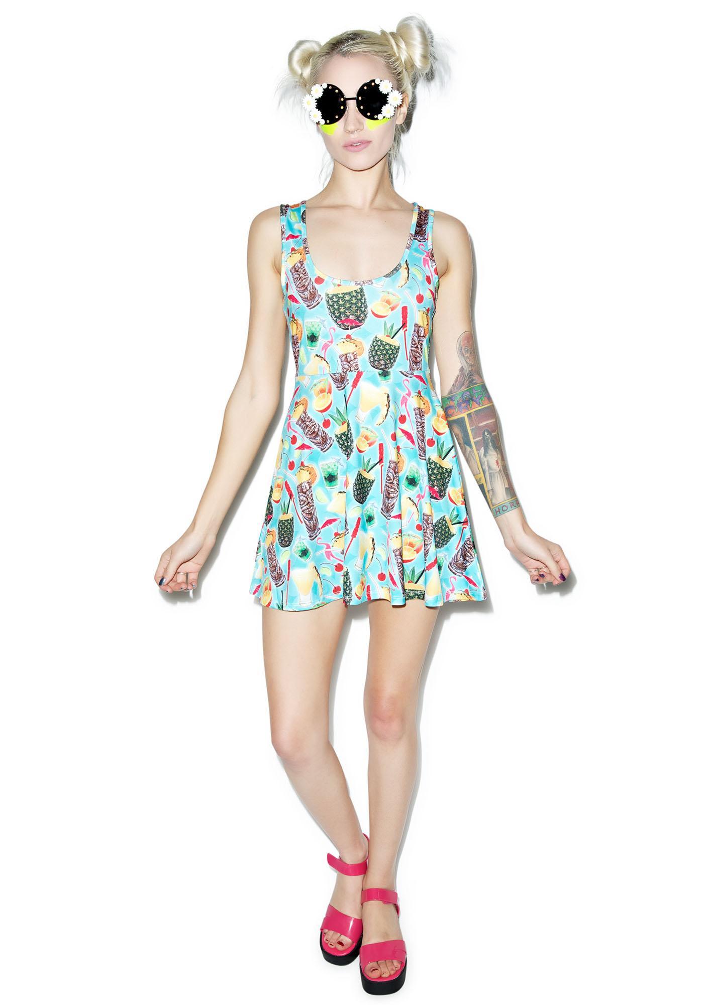 Sourpuss Clothing Tropical Drink Skater Dress