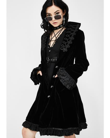 Embroidered Velvet Trench Coat