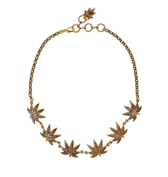 Blunted Objects Tattoo Weed Leaf Choker