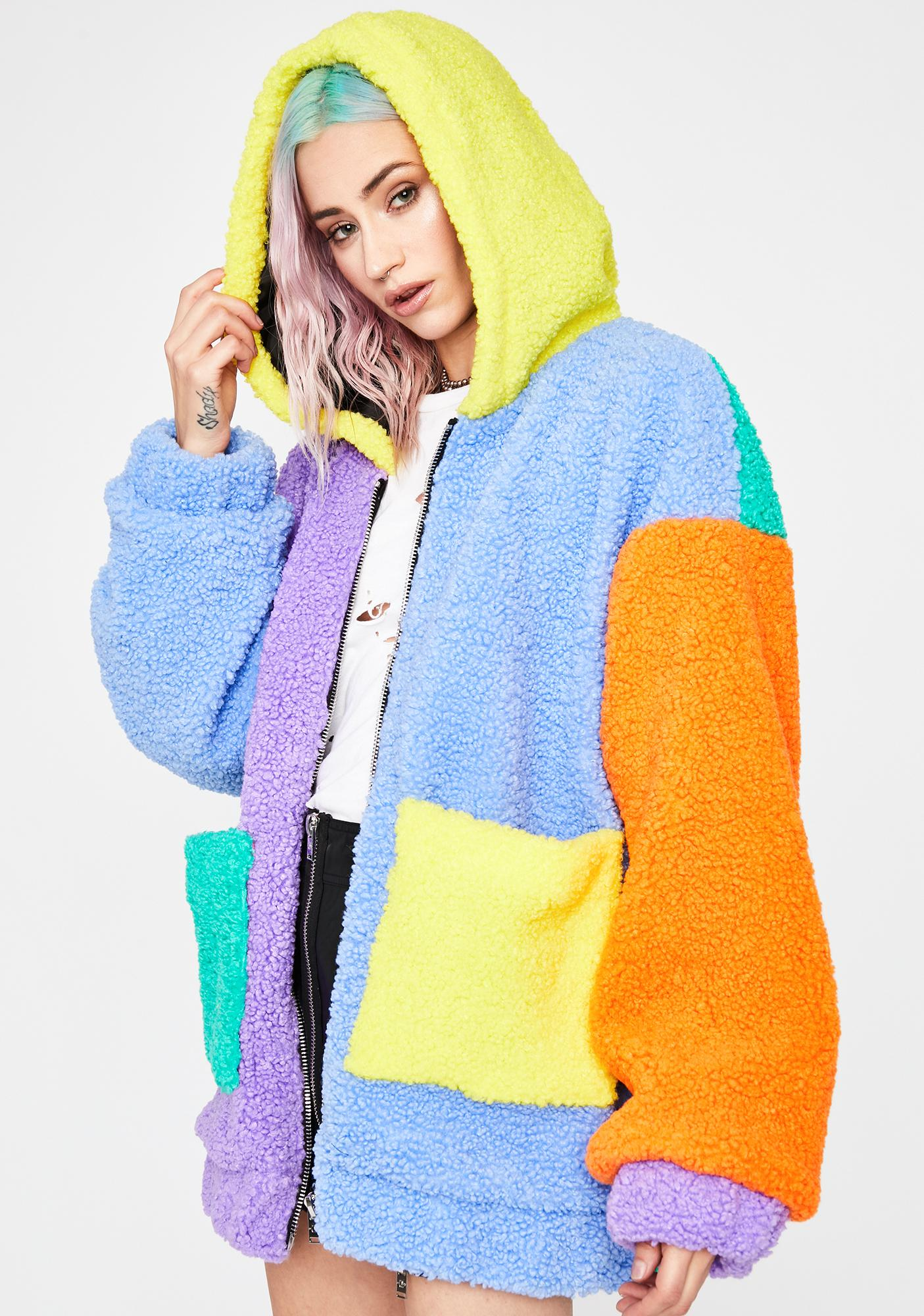 Current Mood Candy Dreams Oversized Teddy Jacket