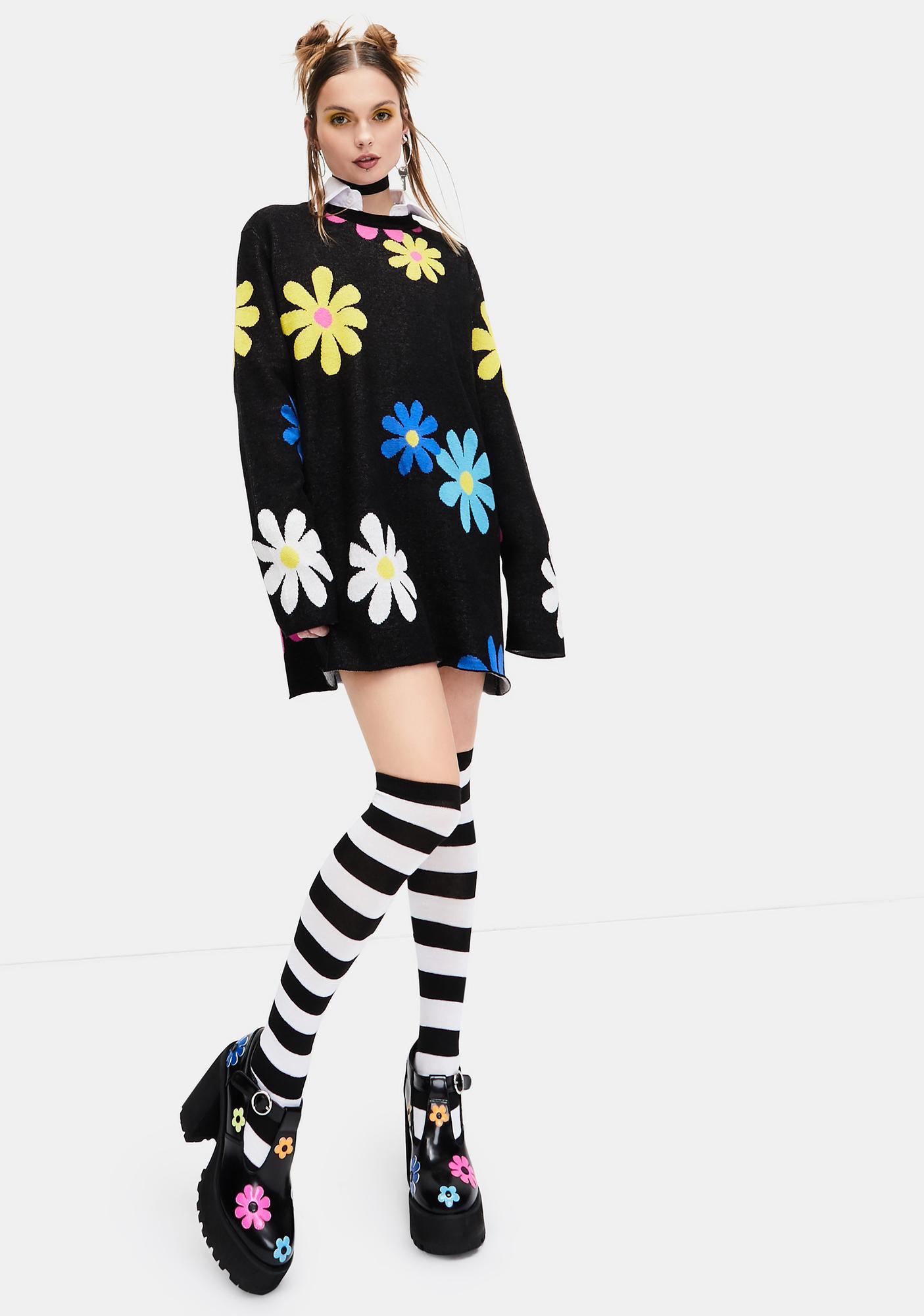 dELiA*s by Dolls Kill Flower Power Intarsia Sweater