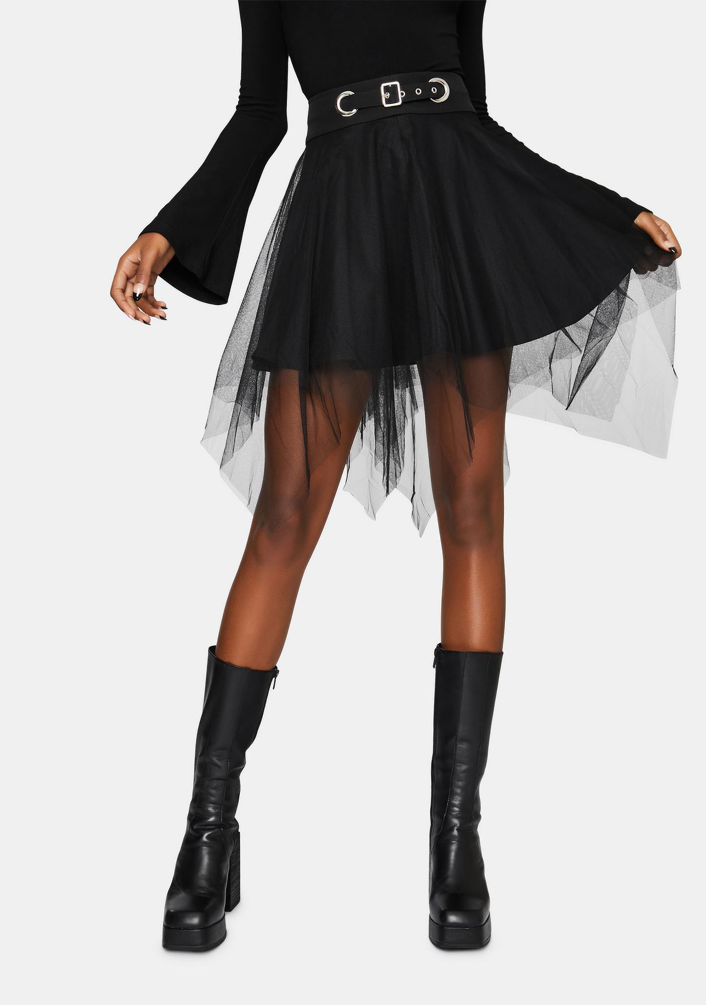 Punk Rave Dark Mesh Skirt