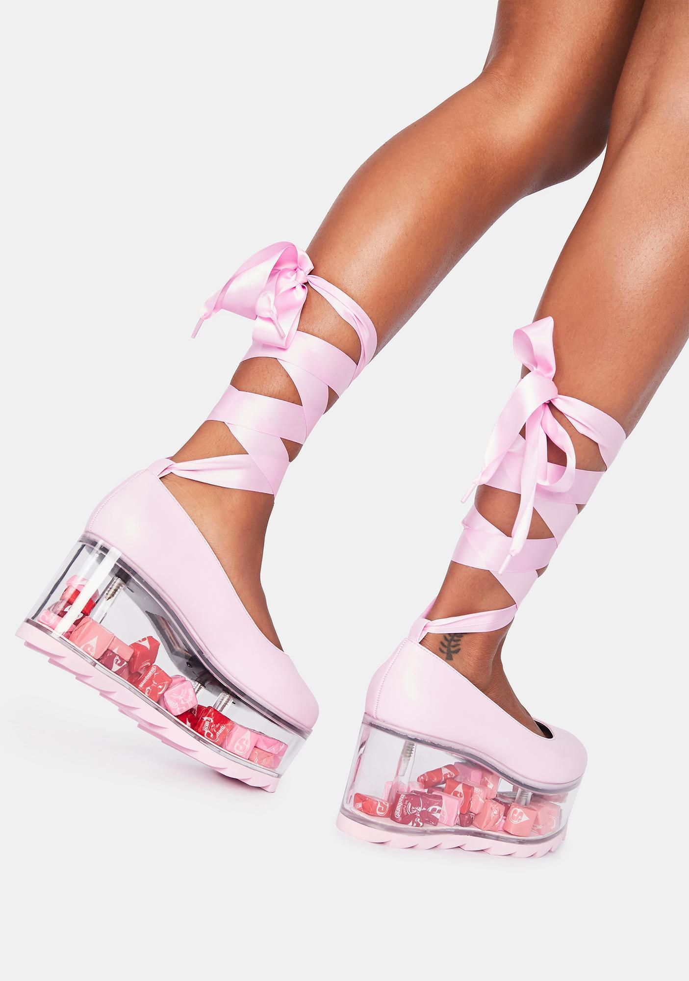 Y.R.U. Pink Qloud Swan Lace Up Platforms