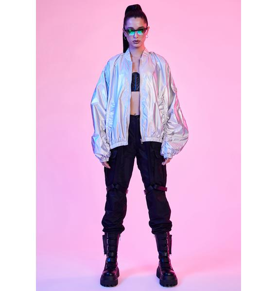 Current Mood Spaced Out Holographic Bomber Jacket