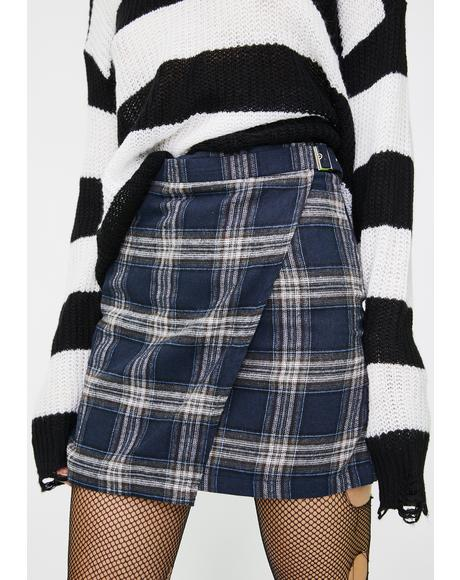 Checkered Wrap Belted Mini Skirt