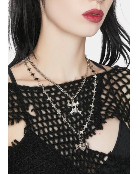 Heart of Skull Charm Necklace