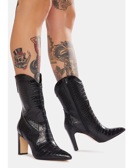 Everley Heeled Croc Boots