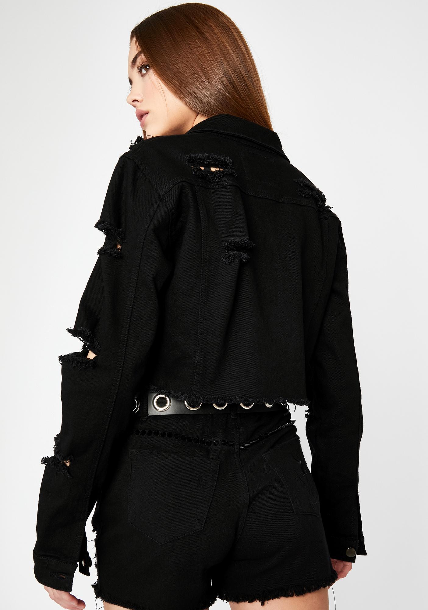 Unchecked Attitude Crop Denim Jacket