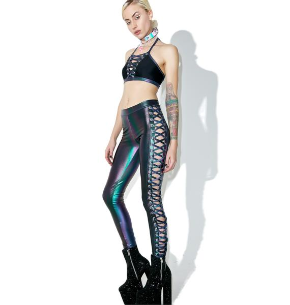J Valentine Deep Dive Lace-Up Leggings