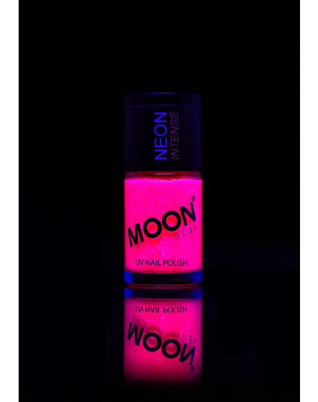 Neon Pink UV Glitter Nail Varnish