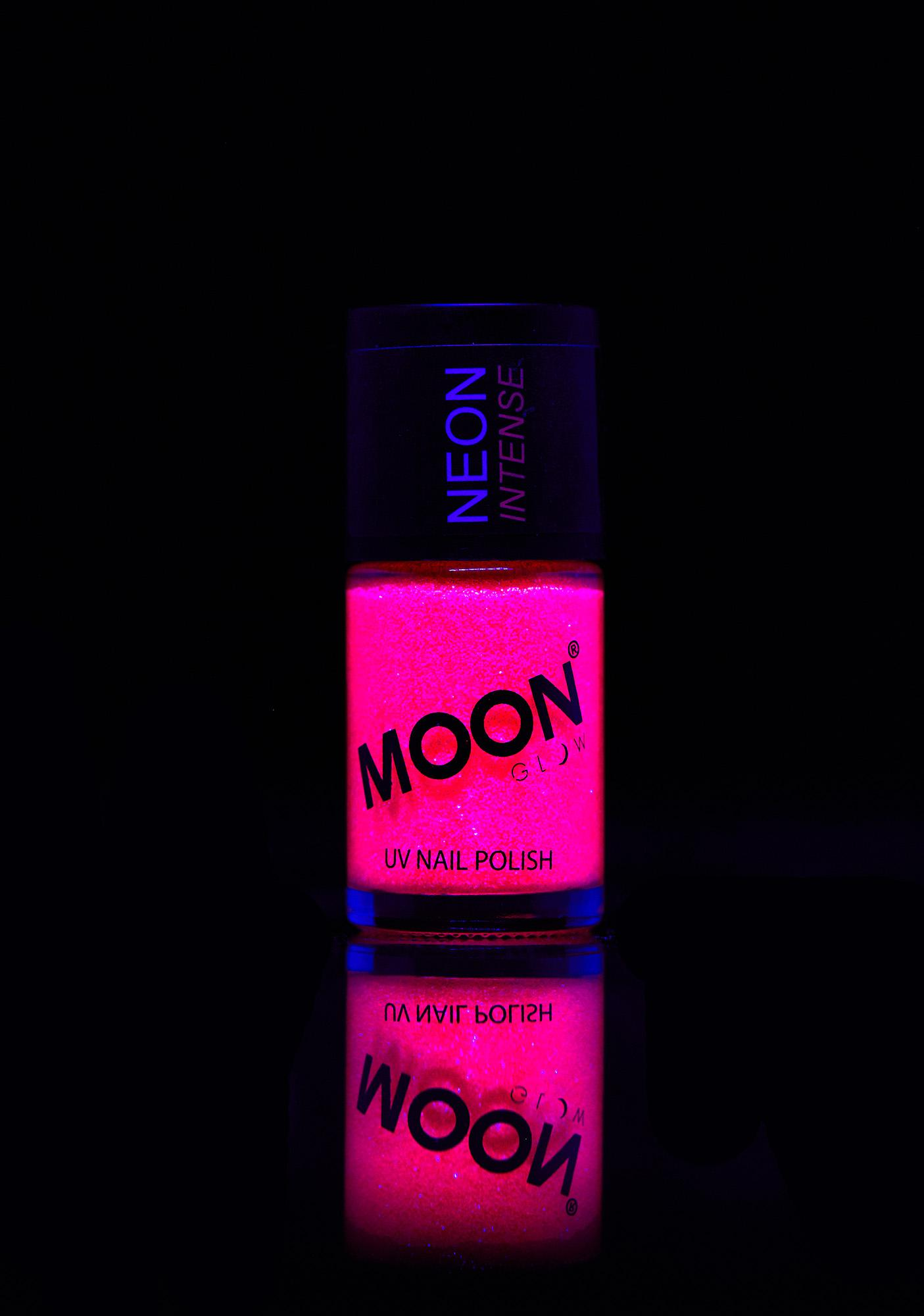Neon Pink Uv Glitter Nail Varnish by Moon Creations