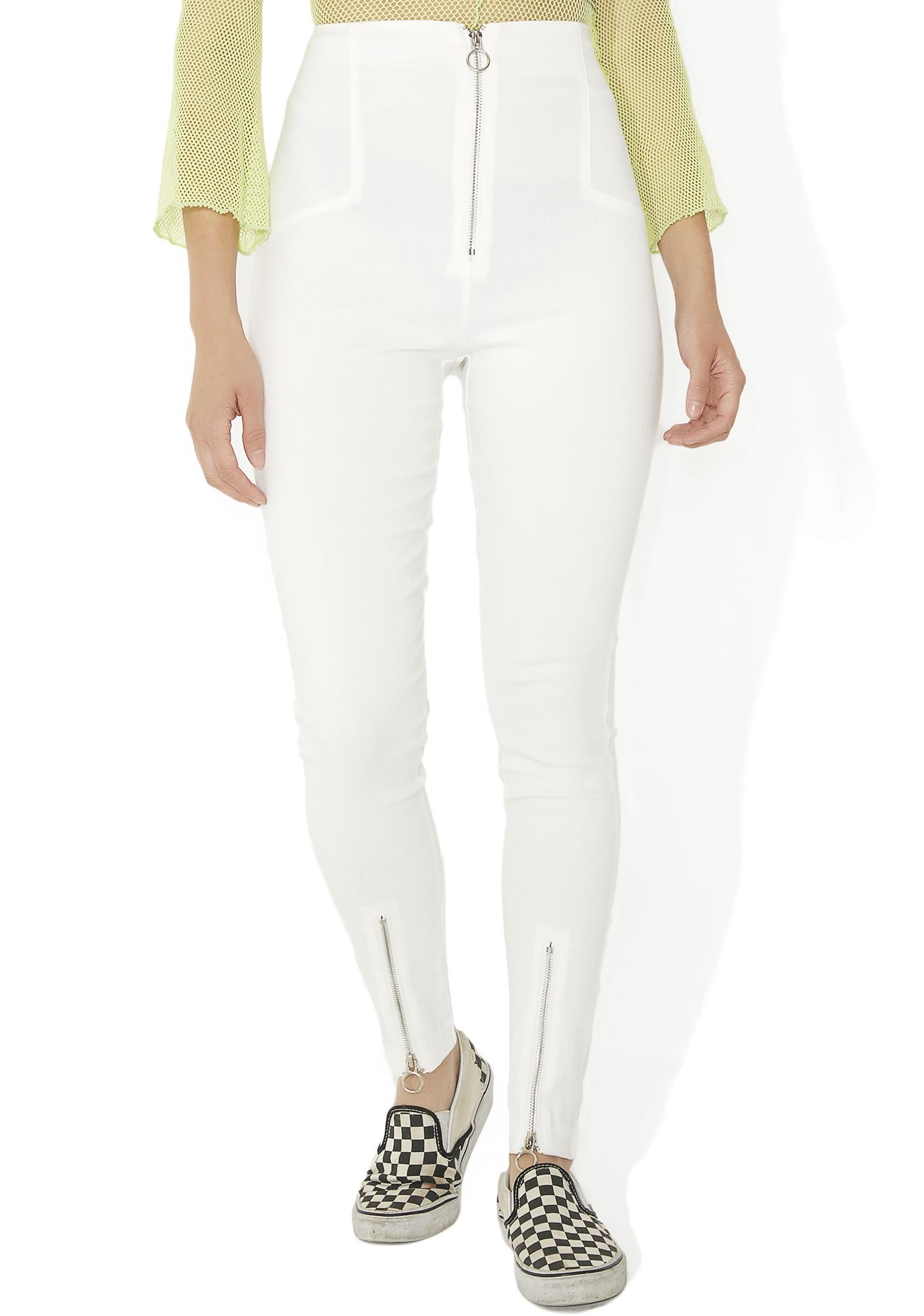 White Skinny Zipper Pants