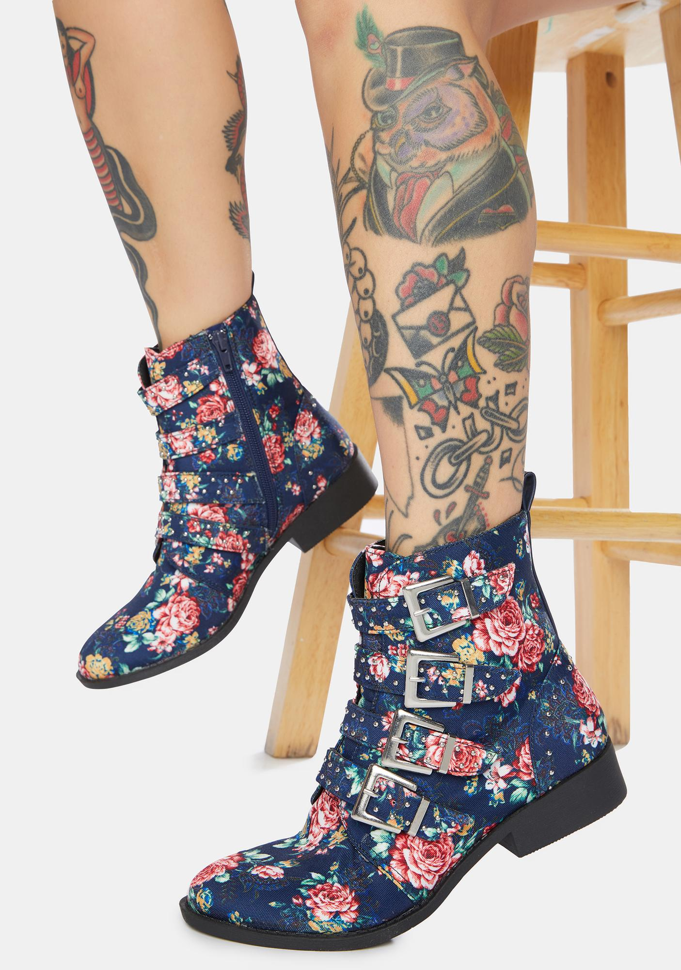 Floral Let'z Rally Studded Boots