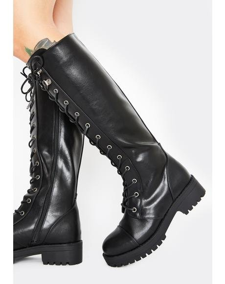 Devilish Delinquent Knee High Boots