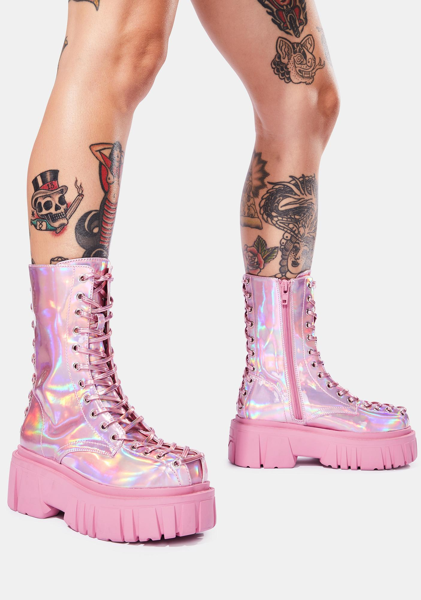 Club Exx Celestial Candy Holographic Corset Boots