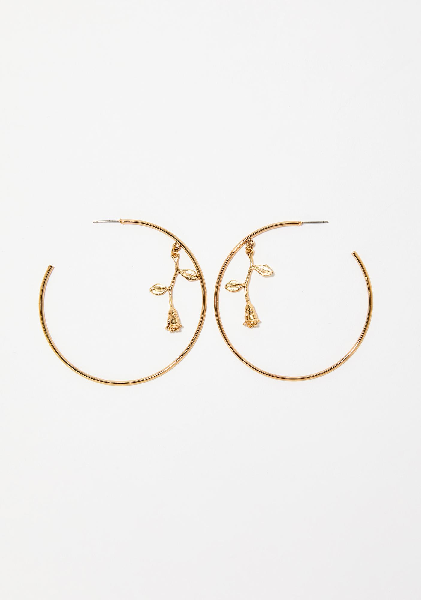 Thorny Rose Hoop Earrings