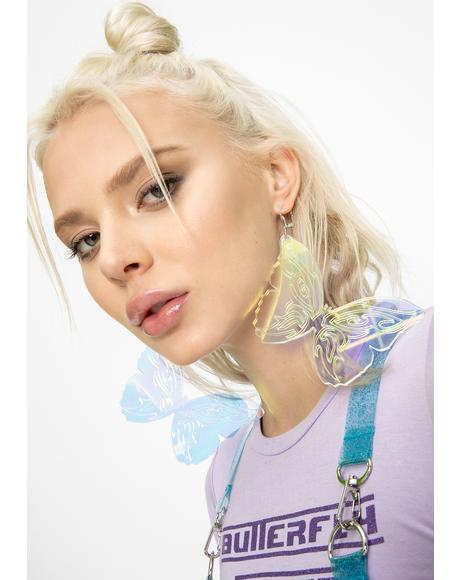 Iridescent Tribal Butterfly Earrings