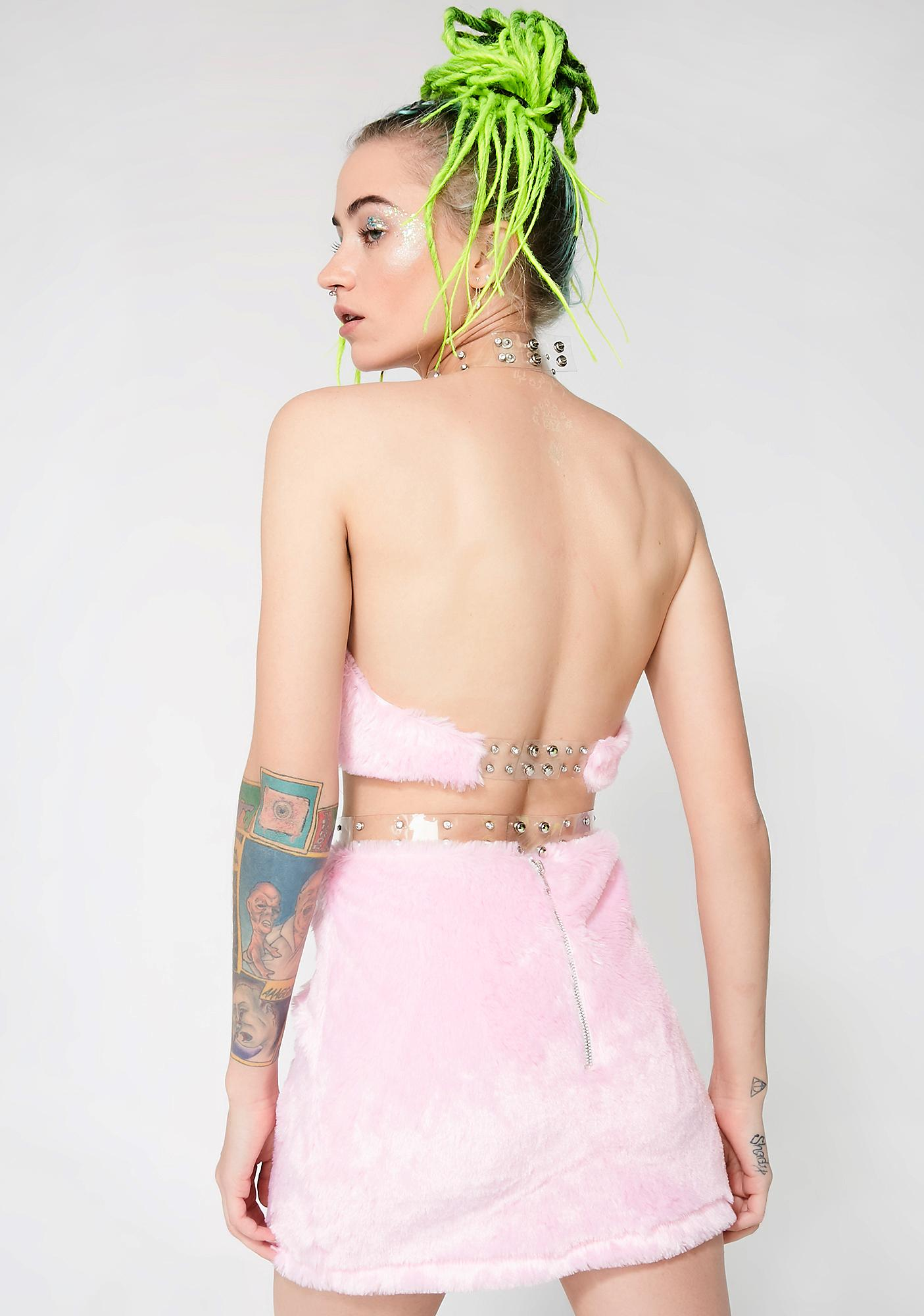 ebbe34354cc13 Club Exx Fuzzy Crop Top Skirt Pink Set