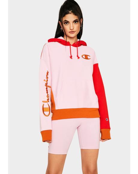 Pink Colorblock Reverse Weave Half Zip Pullover