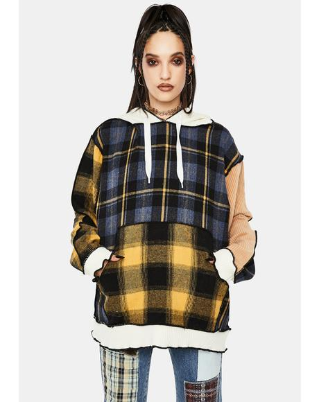Mixed Check Oversized Hoodie