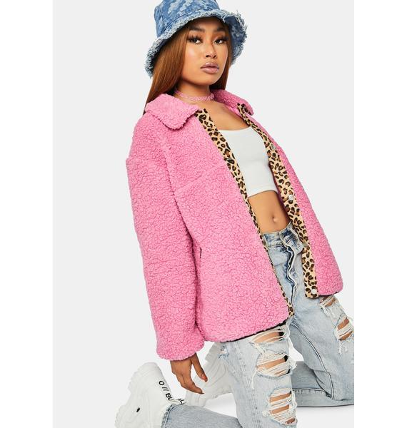 Bubblegum Wild Chase Teddy Leopard Jacket