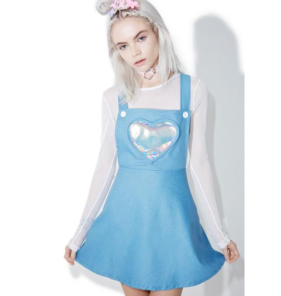 Denim Electra Heart Overall Dress