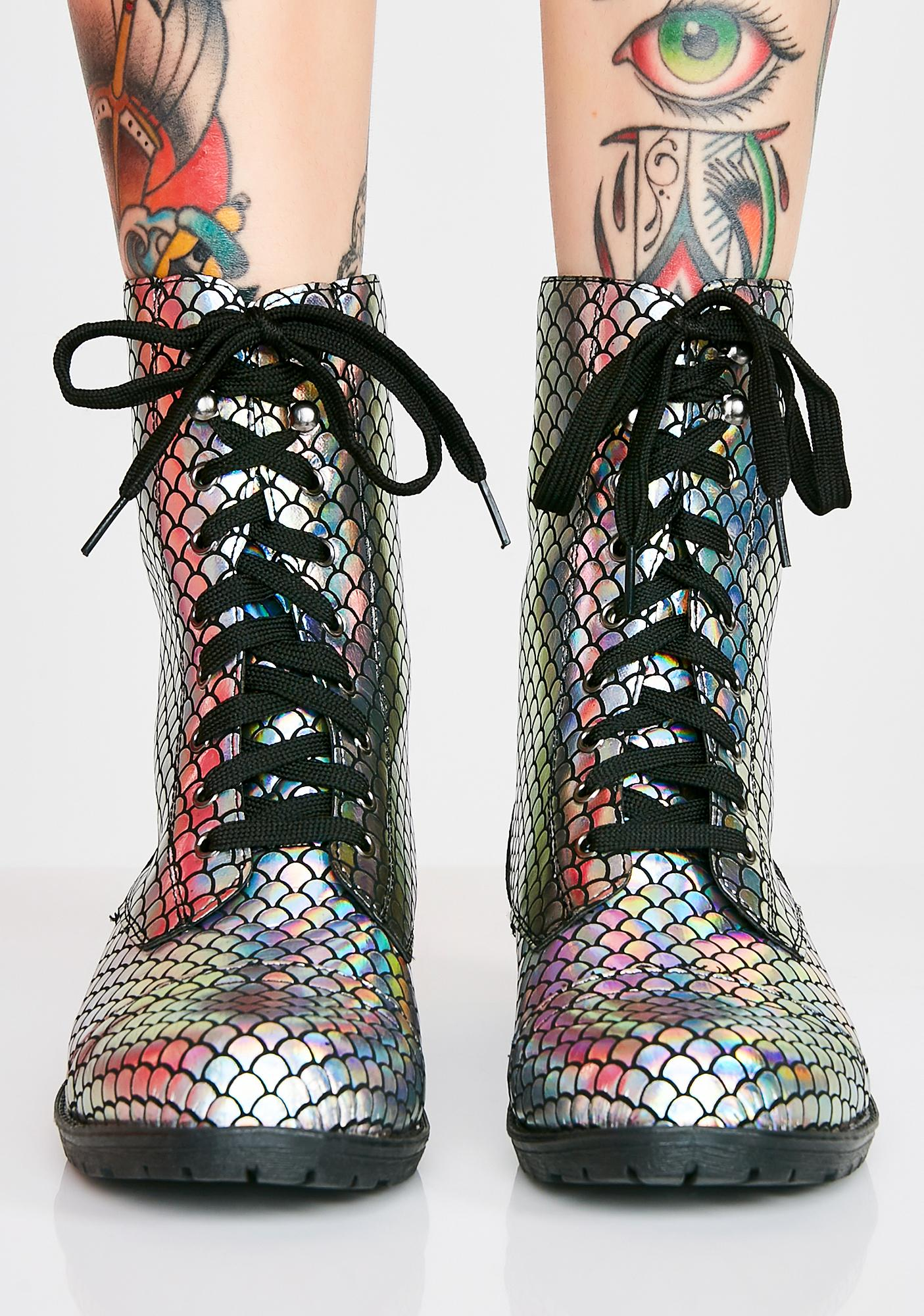 Mermaids Are Real Hologram Boots
