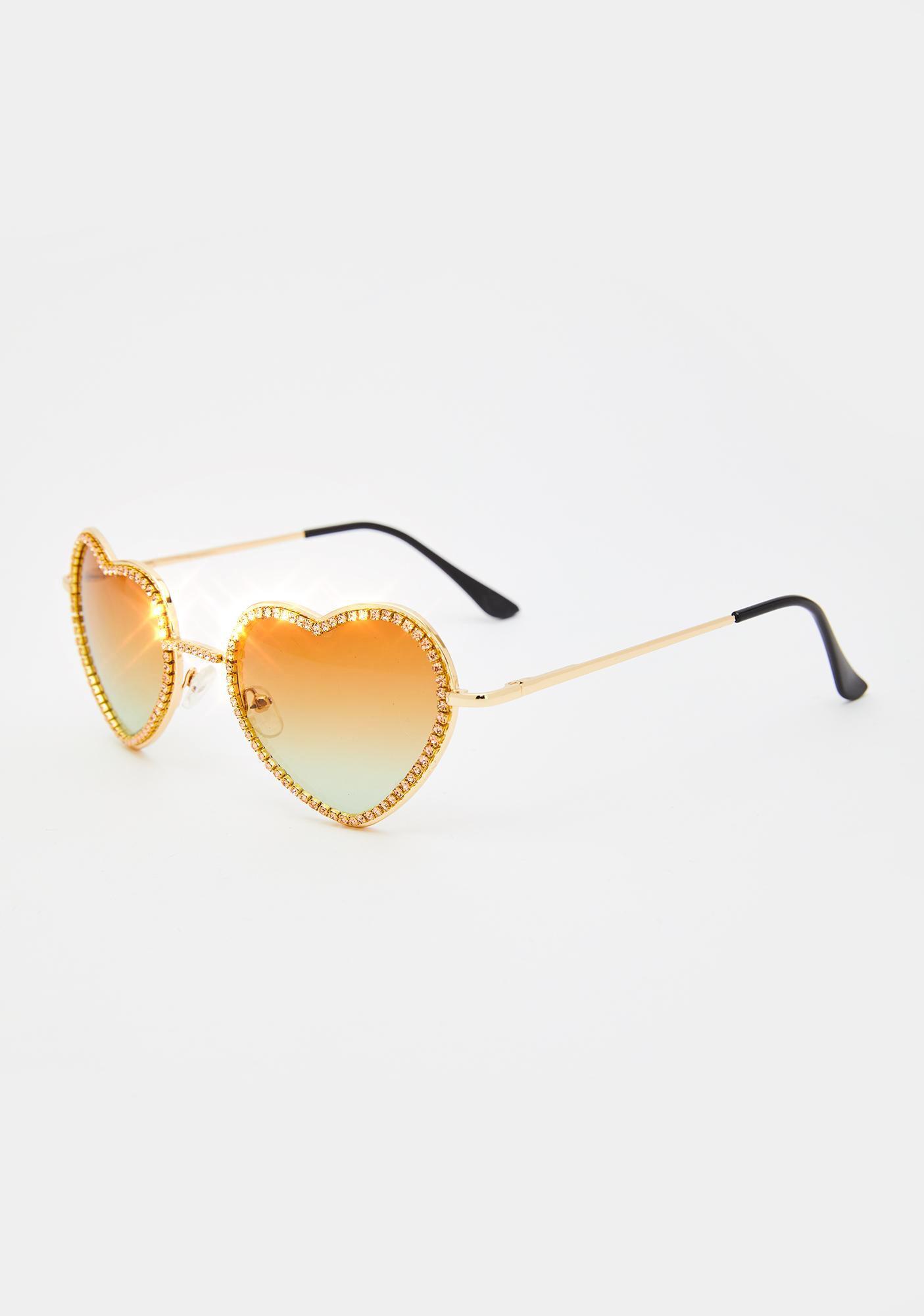 Caramel Buy My Love Rhinestone Sunglasses