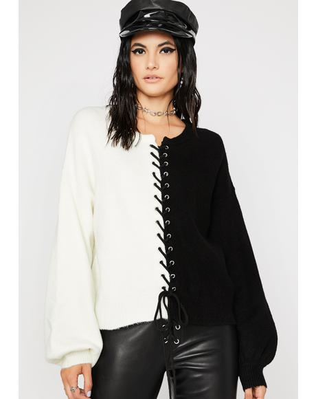 Polar All The Time Lace-Up Sweater