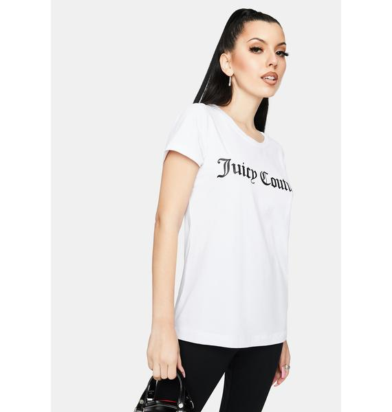 JUICY COUTURE White Juicy Logo Graphic Tee