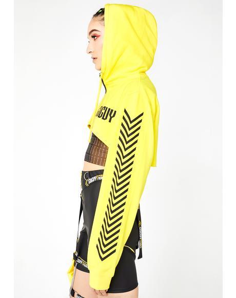 Zero Fcks Yellow Super Crop Hoodie