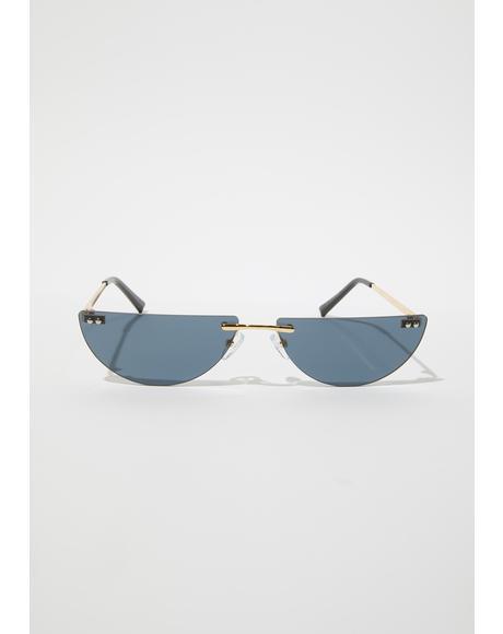 Chic Thrills Half Oval Frameless Sunglasses