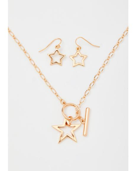 Golden I'm The Star Jewelry Set