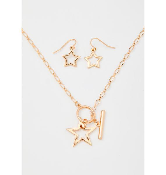 Golden I'm The Star Jewelry Set
