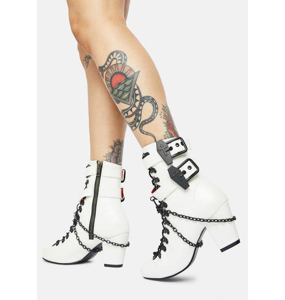 Demonia White Lost Tomb Chain Lace Up Boots