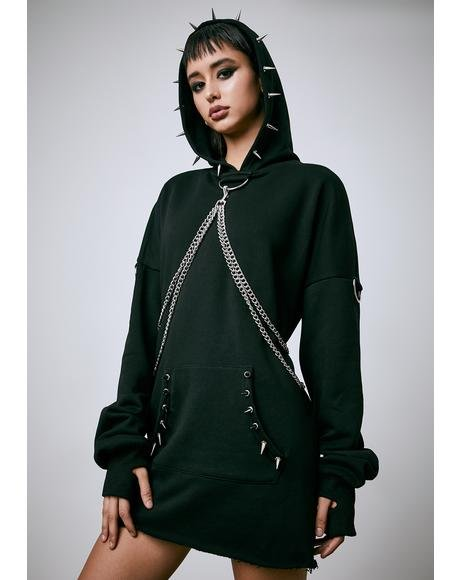 Chained N' Dangerous Oversized Spiked Hoodie