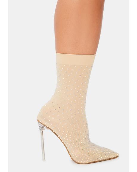 Champagne U Glow Girl Sock Bootie Heels