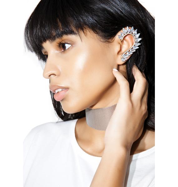 Curvature Crystal Ear Cuff