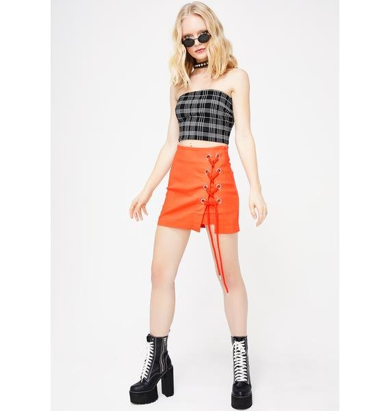 Can't Break Me Lace-Up Skirt