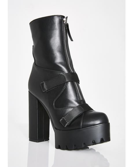 Dark Don't Call Me Doll Ankle Boots