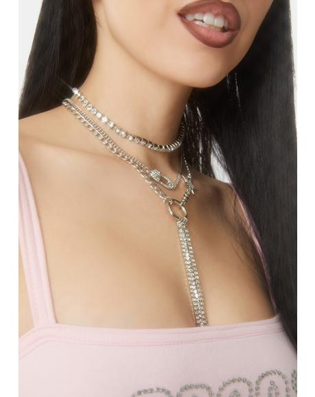 Cups of Stars Layered Rhinestone Necklace