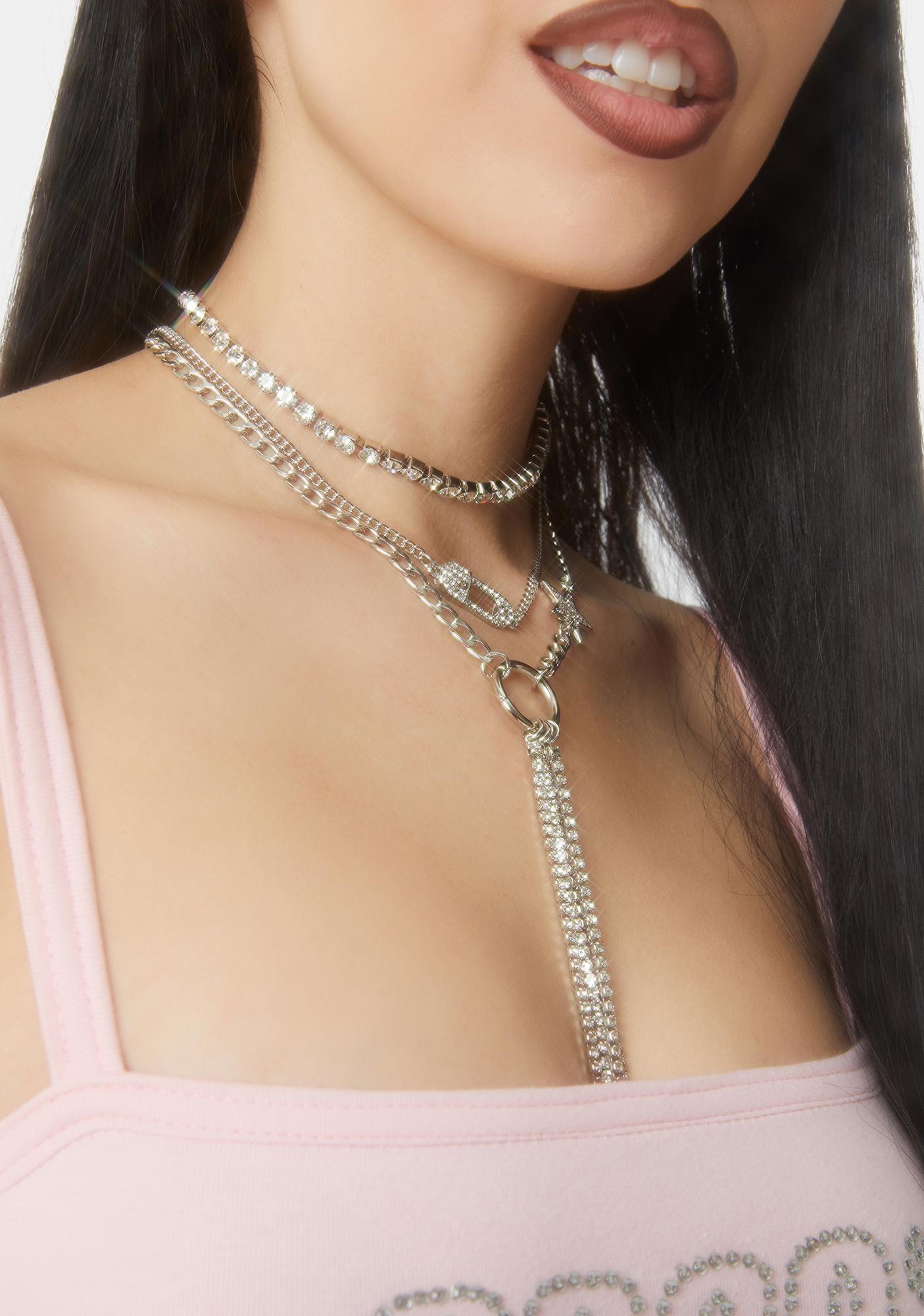 Cups of Stars Layered Rhinestone Necklace