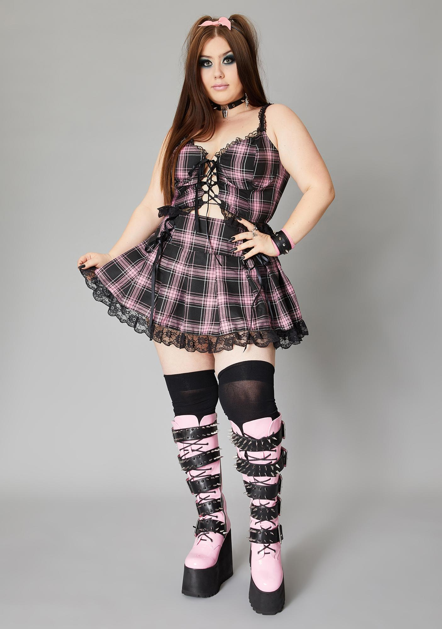 Widow Miss Charm School Dropout Plaid Cami