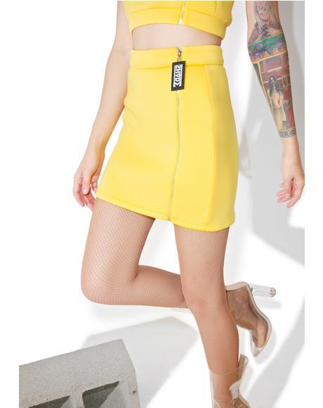 Side Zipper Mini Skirt