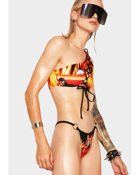 Flaming Car One Shoulder Bikini Top