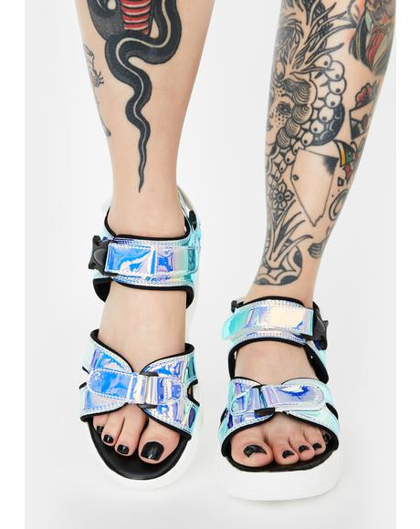 Holographic Merkin Buckle Sandals