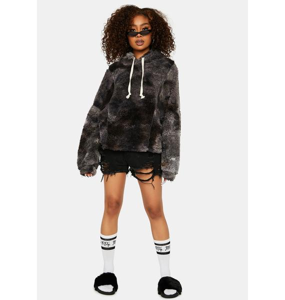 Charcoal In The Middle Sherpa Tie Dye Hoodie
