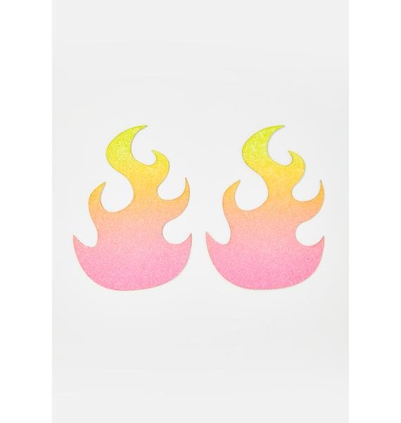 Neva Nude Lime And Pink Glittery Flame Pasties