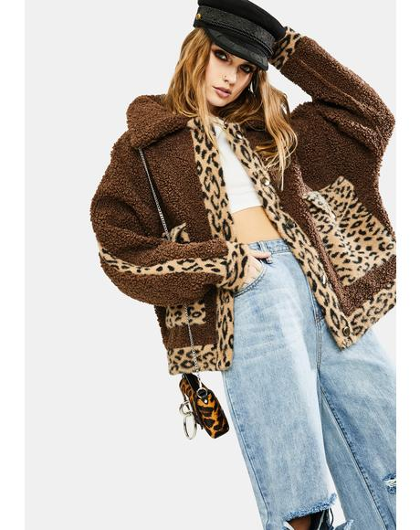 Brown Leopard Sherpa Jacket