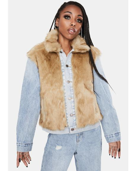 Furry Fury Oversized Trucker Jacket